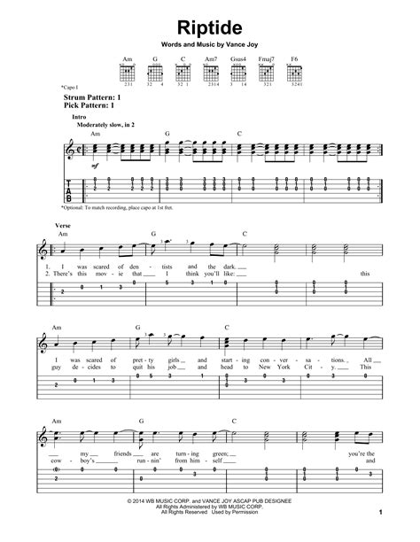 printable riptide lyrics riptide sheet music by vance joy easy guitar tab 158030
