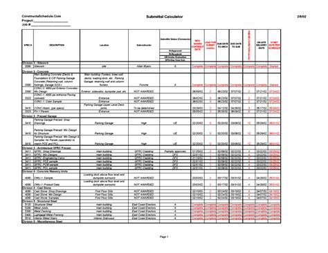 Constructaschedule 174 Cpm Construction Scheduling Services Submittal Schedule Template Excel