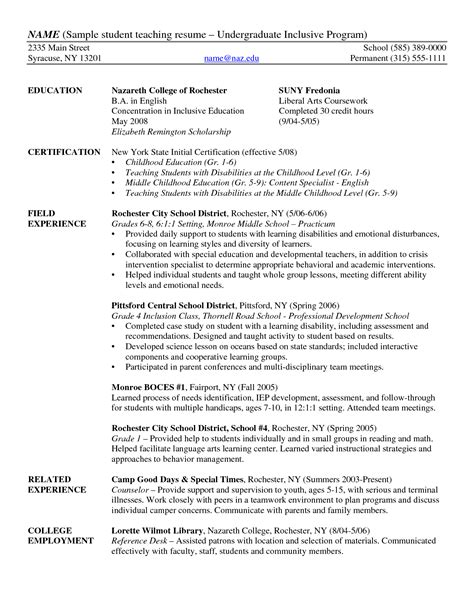 Student Teaching Resume by Teachers Resume Template Sle Resumes For Teachers