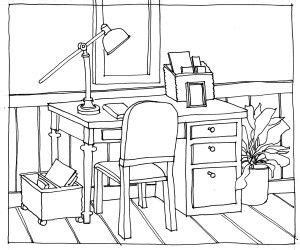 drawing desk line drawing desk and chair perspective drawing book