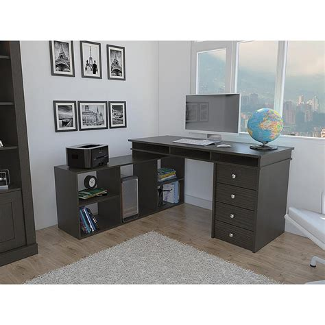 houston espresso l shaped corner desk with 4 drawers