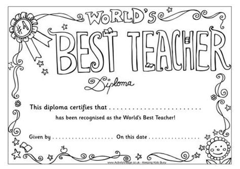 printable coloring pages for your teacher worlds best teacher diploma