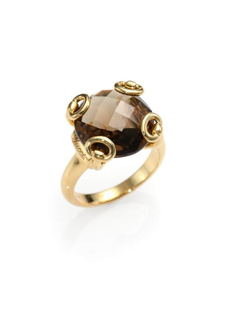 gucci horsebit smoky quartz 18k yellow gold cocktail ring