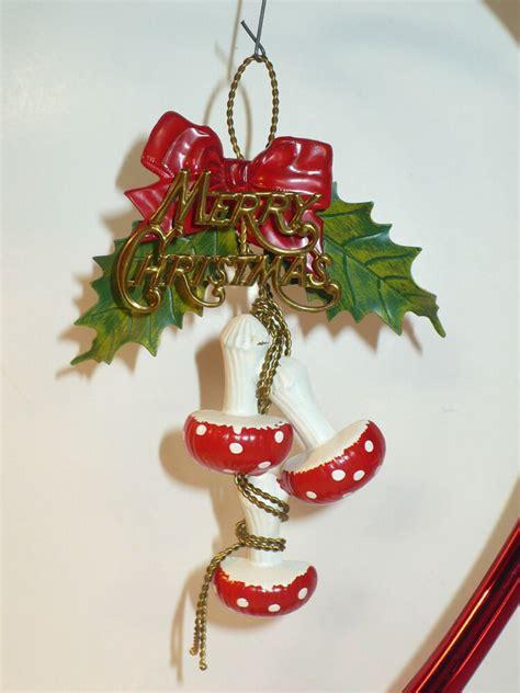 vintage christmas unique metal merry christmas mushrooms tree ornament ebay