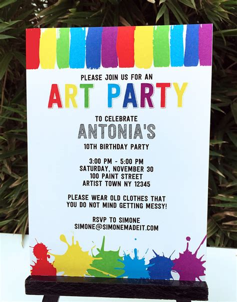 free printable art birthday invitations art birthday party theme printables paint party