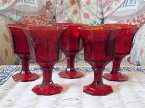 Depression Glass Vase Vintage Cranberry Red Goblets Wine Glasses Christmas Halloween