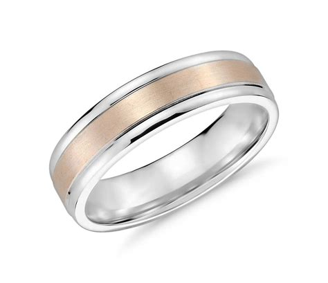 brushed inlay wedding ring in 14k white and gold 6mm