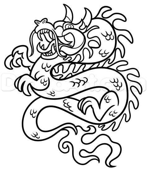 chinese dragon coloring pages easy step 6 chinese new year dragon drawing lesson
