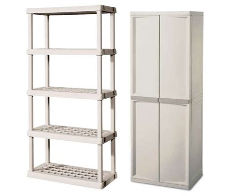 sterilite 4 shelf cabinet with bonus 5 shelf shelving unit
