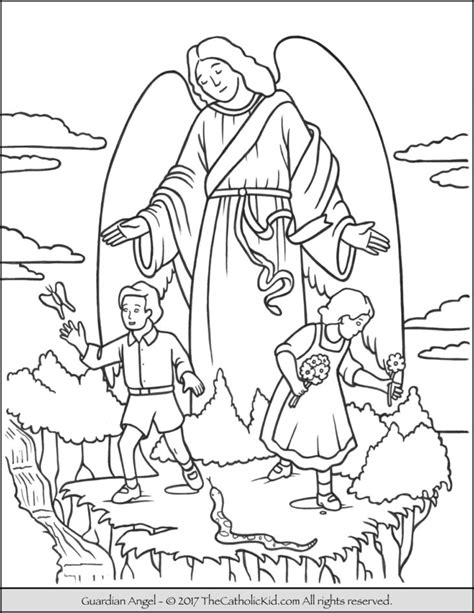 coloring page guardian angel prayer the catholic kid catholic coloring pages and games for