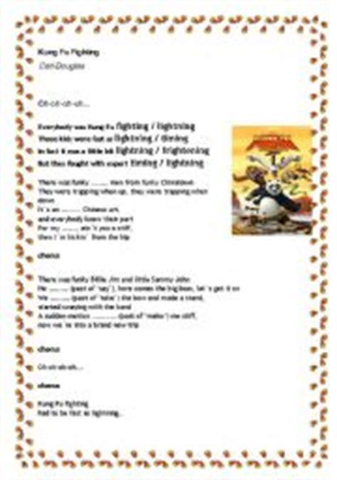 printable lyrics to kung fu fighting english teaching worksheets other songs