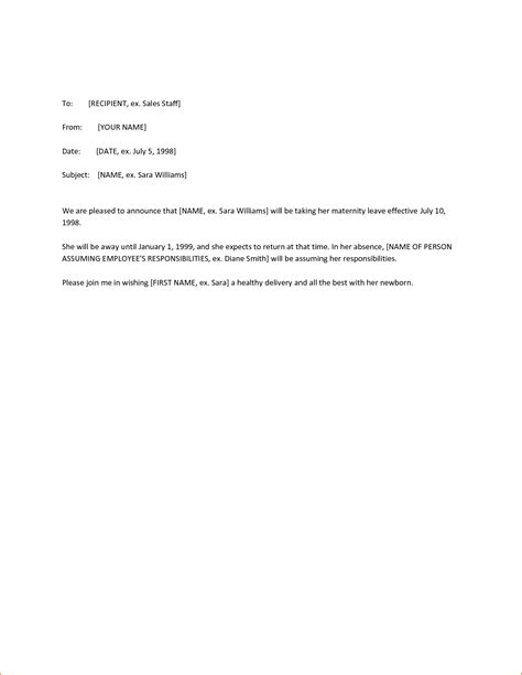 maternity leave notice letter template 8 2 week notice letter leaving basic appication