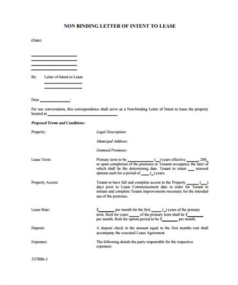 Letter Of Intent To Lease Commercial Property Template sle letter of intent to lease commercial premises