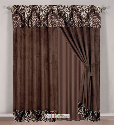safari curtains 4 faux fur microfiber safari zebra leopard giraffe
