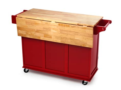 Kitchen Island Drop Leaf rolling wood top kitchen cart red home woot