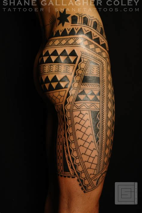 tattoo design on leg maori polynesian leg