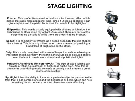Auditorium Lighting Types Of Stage Lighting Fixtures