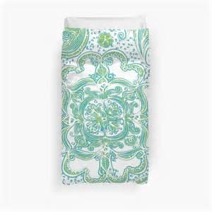 green paisley duvet cover quot paisley mandala blue green quot duvet covers by