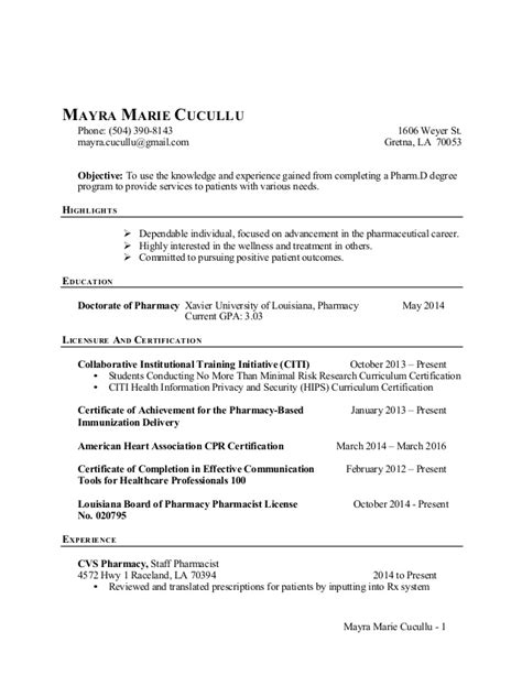 resume objective for pharmacy student mayra cucullu cv