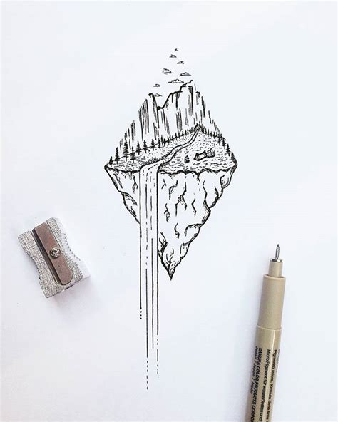waterfall nature dotwork tattoo idea tattoo pinterest