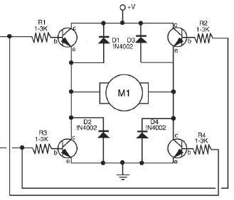transistor h bridge dual latch relay circuit setup
