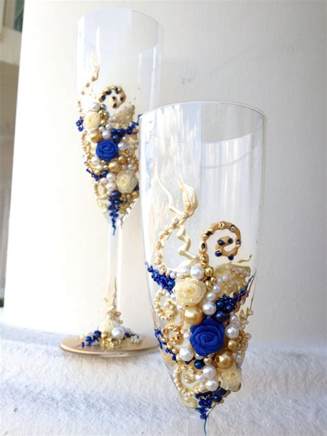 Hand decorated wedding champagne glasses elegant toasting
