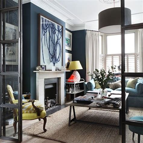 royal blue living room with feature wall decorating house to home navy living room with large scale art