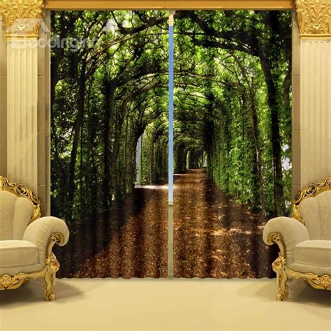 Black Curtains Cheap Fantastic Green Corridor Printing Polyester 2 Pieces 3d