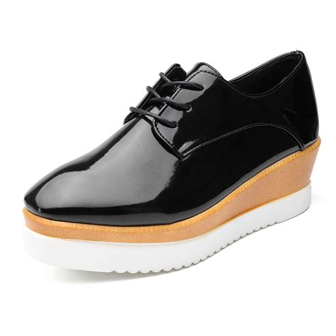 platform oxford shoes womens 2017 womens creepers platform lace up wedge oxfords chunky