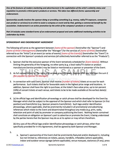 Sponsorship Contract Template For Artists Artist Terms Of Service Template