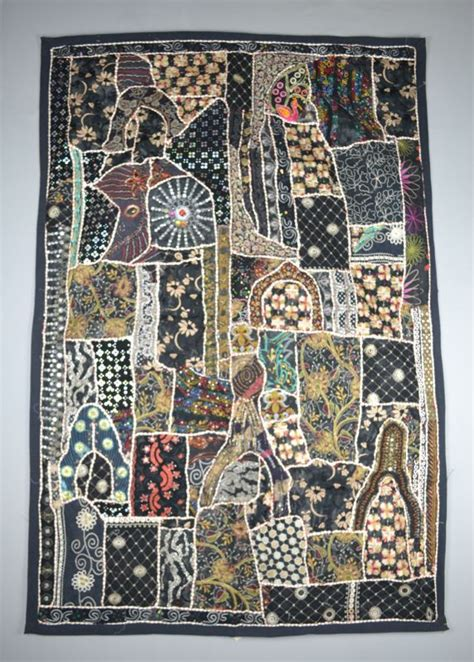 Patchwork Wall Hanging - large black patchwork wall hanging dilliway dilliway