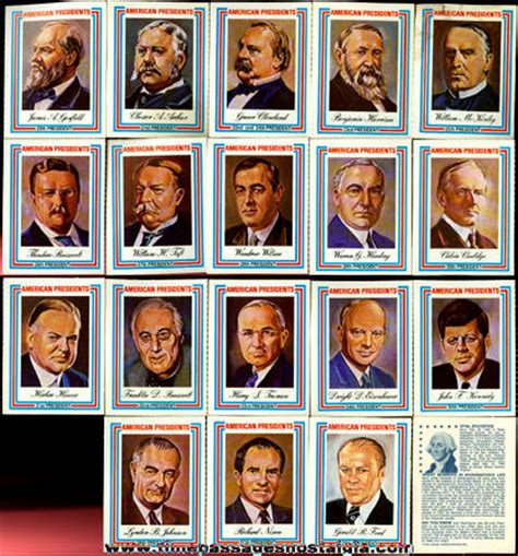 presidential trading card template 169 1975 set of 38 united states president trading cards tpnc