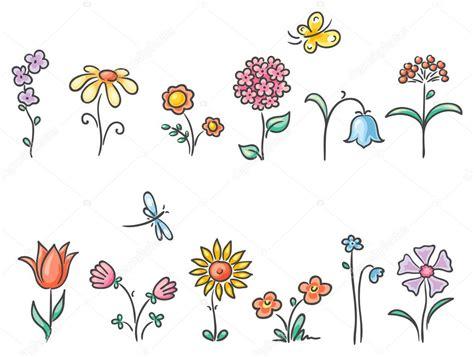 alle verschillende bloemen cartoon bloemen van verschillende soorten stockvector