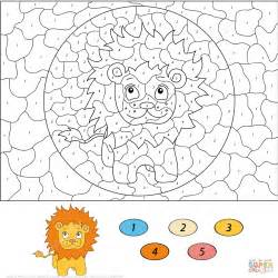 lion color by number coloring pages cartoon lion color by number free printable coloring pages