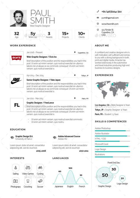 1 Page Resume Templates by 9 One Page Resume Templates Free Premium Templates