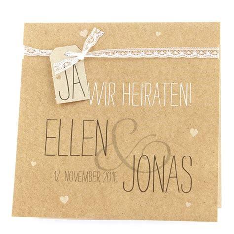 Hochzeitseinladung Jute by Einladungskarte Quot Judy Quot Hellbraun Im Naturlook Weddix De