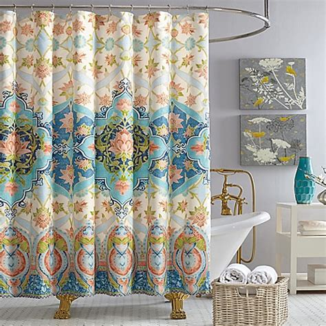 simpsons shower curtain jessica simpson aquarius shower curtain in blue bed bath