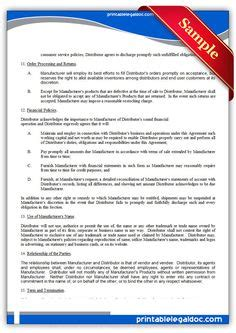 Distribution Agreement Letter Of Credit Technology Free Printable And Templates On
