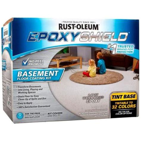 rust oleum epoxyshield 1 gal tint base 2 part basement floor coating kit 225446 the home depot