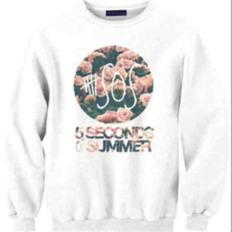 Jaket Sweater Hoodie 5sos 5 Seconds Of Summer 1 sweater 5sos hoodie white floral light pink 5 seconds of summer pink floral wheretoget