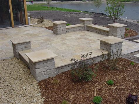 stone patio landscape simple landscaping rock walls patios