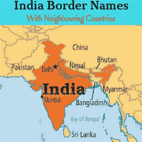 map of india with country names border lines of india border line names of india with