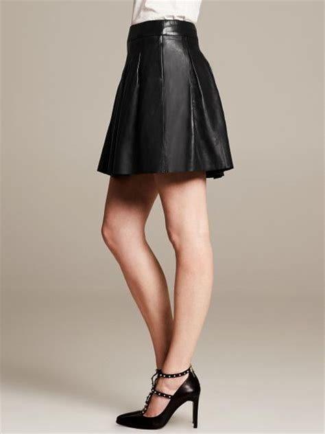black fit and flare leather skirt