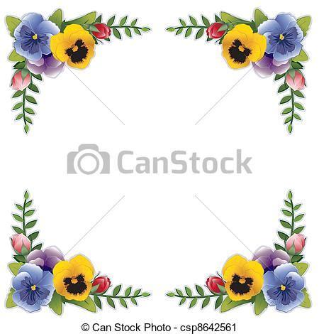 clip cornici clipart vettoriali di viole pensiero fiore cornice