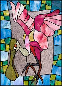 roseate spoonbill stained glass pattern