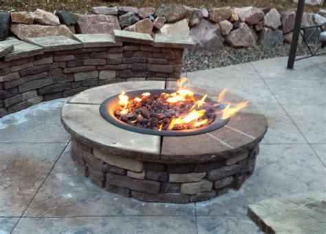 Natural Gas Fire Pit Kit Outdoor Patio Home Fireplaces Propane Firepit Kit