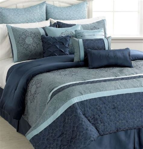 sunham ambrosia 12 piece cal king comforter set navy light