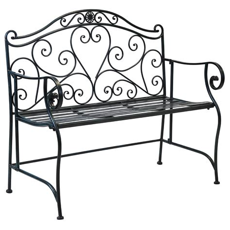 wrought iron patio bench charles bentley garden 2 seater wrought iron bench metal outdoor seat b w ebay