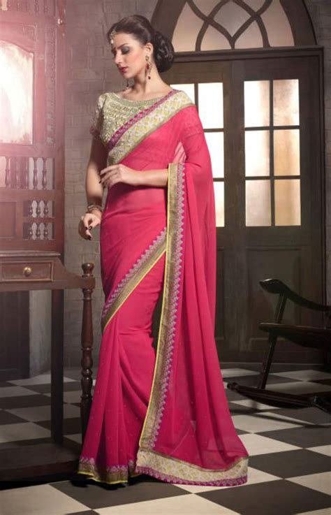 Tripa Blouse 1 buy pink embroidered georgette saree with blouse