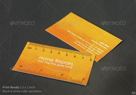 ruler business card template handy business card with ruler yellow orange by darkoab